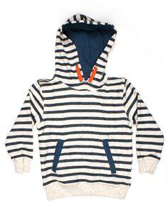 Ecru Nulo hoodie met donkerblauwe strepen en spikkels - Kulor