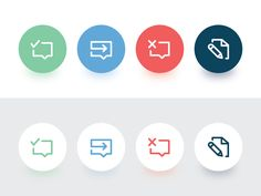 Iconography used for notifications of campaign status in the platform. from left to right: Campaign successfully completed, campaign was launched and is in progress, campaign launch failed, and cam...