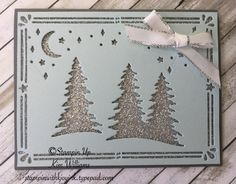 Stampin Up Carols of Christmas stamp set and framelit dies. Kim Williams, stampinwithkjoyink.typepad.com. Pink Pineapple Paper Crafts. Glimmer dots give this traditional colored christmas card dimension and shine. Christmas card idea thats quick and easy. Stampin Up Holiday Catalog 2017