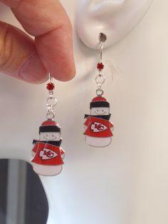 Kansas City Chiefs Earrings, KC Chiefs Snowman Charm Red Crystal Leverback Earrings, Pro Football Chiefs Jewelry Accessory Fanwear by scbeachbling on Etsy