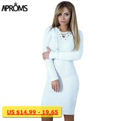 Aproms Winter Warm Long Sleeve Knitted Ribbed Dress Women V neck Lace Up Tunic Dress Female Sexy Bodycon Party Dresses vestidos