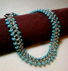 Turquoise and Sterling Silver Plated 4 in 1 Full Persian Weave Chain Maille Bracelet