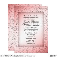 Rose Glitter Wedding Invitation