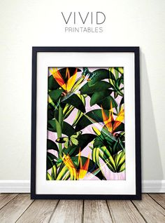 Colorful tropical print for instant download. by VividPrintables