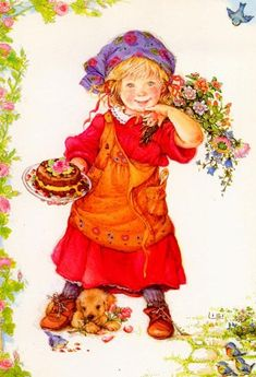 The artist Lisi Martin was born in 1944 in Barcelona, Spain. Her artwork depicts the make believe world of children with great charm and sensitivity. Sarah Kay, Vintage Cards, Vintage Postcards, Vintage Pictures, Cute Pictures, Spanish Artists, Holly Hobbie, Vintage Birthday, Children's Book Illustration