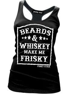 "Women's ""Beards and Whiskey Make Me Frisky"" Racerback Tank by Pinky Star (Black)"