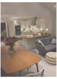 Living Room And Kitchen Design, Open Plan Kitchen Dining Living, Kitchen Family Rooms, Small Dining, Small Living Rooms, Living Room Designs, Kitchen Sofa, Dining Rooms, Living Room And Kitchen Together