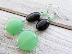 Orecchini giada verde e agata nera, gioielli argento 925, bijoux pietre dure…