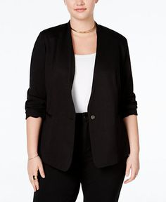 125.00$  Buy now - http://vignv.justgood.pw/vig/item.php?t=no27j5a0419 - Trendy Plus Size Ponte Blazer
