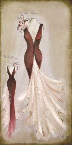 Posters: Romero Poster Art Print - Haute Couture De La France x 16 inches) Retro Mode, Mode Vintage, Vintage Ladies, Images Vintage, Vintage Cards, Vintage Couture, Vintage Fashion, Cadre Diy, Silhouette Mode