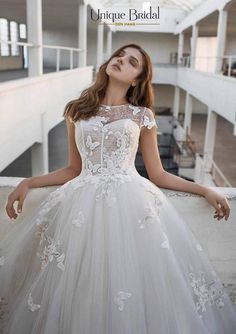 """Gorgeous Embroidered Lace & Tulle A-Lane Wedding Dress / Bridal Gown with Short Sleeves and a Train. Collection """"Le Papillon"""" 2019 by Modeca Lace Wedding Dress, Bridal Dresses, Wedding Gowns, Ronald Joyce Wedding Dresses, Dressing Design, Cornish Wedding, Bridal Stores, Plus Size Wedding, French Lace"""
