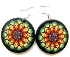 Limited Decoupage Earrings, Green Orange and by JewelryByJolanta, $18.00