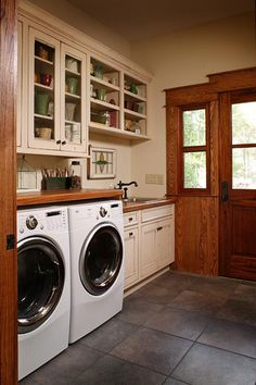 This Laundry Area/mud Room Shares Several Features With The Nearby Rustic  Kitchen: Butcher