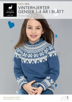 DSA57-11 Vinterhjerter genser 1-4 år i blått – Du Store Alpakka Baby Barn, Knit Patterns, Baby Knitting, Turtle Neck, Graphic Sweatshirt, Diy And Crafts, Sweatshirts, Sweaters, Blog
