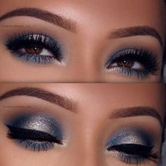Gorgeous Makeup: Tips and Tricks With Eye Makeup and Eyeshadow – Makeup Design Ideas Makeup For Silver Dress, Navy Blue Dress Makeup, Navy Eye Makeup, Navy Blue Eyeshadow, Prom Eye Makeup, Blue Eyeshadow Looks, Silver Eyeshadow, Wedding Makeup For Brown Eyes, Prom Makeup Looks