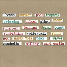 Scrapbooking TammyTags -- TT - Designer - Harper Finch, TT - Item - Word Art, TT -Theme - Summer or Beach
