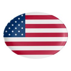 USA Flag Patriotic design 4th of July Party / Flag Day / Patriot Day / Any American Themed Event Porcelain Coupe Platter. Matching cards , postage stamps and other products available in the Holidays / 4th of July Category of the artofmairin store at zazzle.com