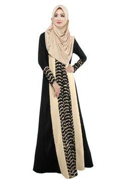 2017 Muslim Womens Abaya Dress O-Neck Long Sleeve Floor Length Loose