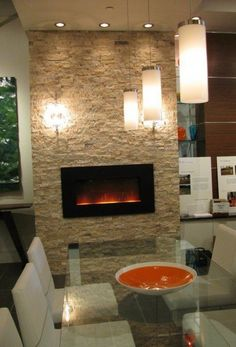 Electric Modern Fireplace | Stone, White, Pendant Lamps