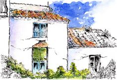 Old Cottages Torrox Spain pen and Watercolour Wash Old Cottage, Framed Prints, Canvas Prints, Pen And Watercolor, Village Houses, London City, Cottages, Painting & Drawing, Spain