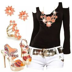 Chalany High Heels Dressy Casual Outfits, White Outfits, Short Outfits, Summer Outfits, Outfit Sets, My Outfit, Polyvore Outfits, Fashion Forward, Fashion Show