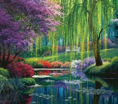 """""""Willow Pond"""" 300 Pc Jigsaw Puzzle 21"""" X 24"""" - Art by Charles White - 100% made in the U.S.A. - WE ARE GREEN - we use recycled cardboard and soy based inks (NO LEAD) - Most dies are RANDOM dies with different shaped pieces throughout"""