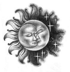 I think I might have found my sun/moon tattoo Moon Sun Tattoo, Sun Tattoos, Body Art Tattoos, Tatoos, Sun Moon Stars, Sun And Stars, Sun And Moon Drawings, Simbolos Tattoo, Sketch Tattoo