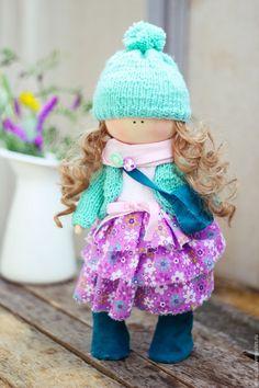 """Купить Текстильная интерьерная кукла """"Малышка в мятном кардигане"""" - морская волна, мятный, подарок девочке"""