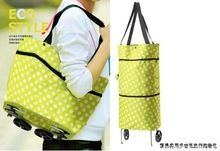 High quality Green Convenient Dual Wheel Reusable Shopping Bags Oxford Cloth Rolling Folding extend Travel Bag Large Capacity
