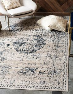 Laurel Foundry Modern Farmhouse Abbeville Dark Blue/Cream Area Rug Rug Size: Rectangle x Cream Area Rug, Blue Area Rugs, Cream Bedding, Bedding Sets, Comforter, Framed Tv, Leather Loveseat, Family Room Design, Family Rooms