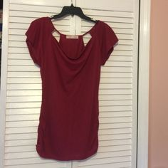 Red Top Slouchy neckline & roucheing  (sp?) on the sides. Can be bundled with the grey one. No Boundaries Tops