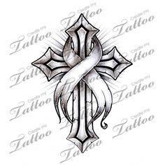 Marketplace Tattoo Cancer Ribbon Cross #16220   CreateMyTattoo.com