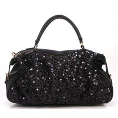 Black Allover Sequins Decor Luxury Handbag