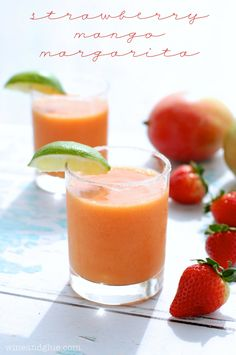 Strawberry Mango Margarita recipe from Phillips-Barton (Wine & Glue) - A SUPER delicious margarita that's easy to make at home! Best Margarita Recipe, Margarita Recipes, Cocktail Recipes, Refreshing Drinks, Summer Drinks, Fun Drinks, Beverages, Mixed Drinks, Colorful Cocktails