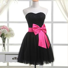 Cute Black Tulle Formal Dress with Bow, Cute Short Dresses, Lovely Winer Formal Wear
