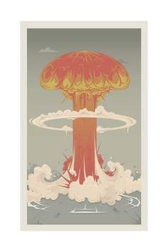 size: Art Print: Nuclear Explosion by apartment : Creative Posters, Illustration Art, Illustrations, Framed Artwork, Find Art, Art Prints, Destruction, Thursday, Boxes