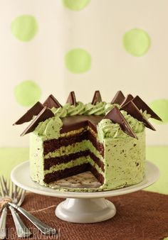 Mint Chocolate Chip Layer Cake - a delicious St. Patrick's Day dessert | from SugarHero.com