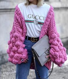 Cardigan: pink tumblr chunky knit oversized oversized logo tee gucci bag grey bag denim jeans blue