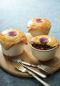 If you're a fan of the deep, savory taste of French onion soup, you'll fall in love with these individual pies from Clark, which combine red onions that you've caramelized in sugar and a cup of beer with mushrooms, ground beef and a bit of tomato paste (for body).