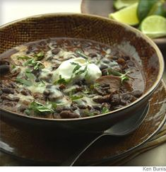 Black beans, earthy mushrooms and tangy tomatillos combine with a variety of spices and smoky chipotles to create a fantastic full-flavored chili. #CrockPot Recipes