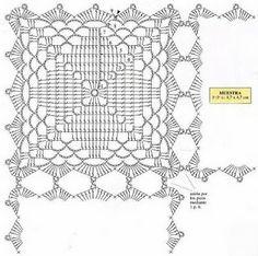 Tecendo Desejos: Manta para sofá com squares de crochê, com gráfico.