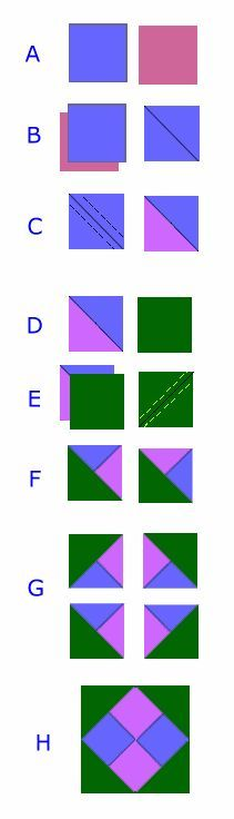 Useful basic quilt block - sequence for fast assembly sewing this easy and fast to make for quick quilts