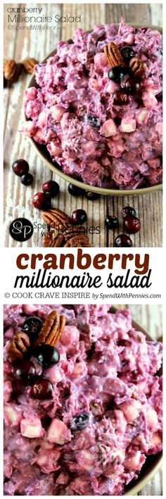 Millionaire Cranberry Salad - Spend With Pennies Cranberry Millionaire Salad! If you love Ambrosia salad, you're going to go crazy for this dish! Perfect served along side turkey dinner! Millionaire Salad Recipe, Millionaire Pie, Cranberry Recipes, Holiday Recipes, Fruit Recipes, Recipies, Dessert Recipes, Recipes Dinner, Gastronomia