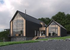 Two-storeyed weekend house 200 parents house 54 Modern Barn House, Modern Bungalow House, Modern House Plans, Modern House Design, Gable House, House Roof, Facade House, Farmhouse Architecture, Dream House Exterior