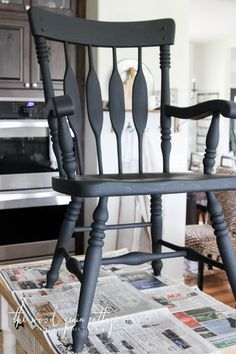 Black Dining Room Chair Makeover by The Wood Grain Cottage