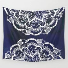 White Feather Mandala On Navy Wall Hanging Tapestry by Tangerine-tane - Small: x Blue Tapestry, Tapestry Bedroom, Mandala Tapestry, Tapestry Wall Hanging, Colorful Tapestry, Hanging Fabric, Navy Walls, White Feathers, Dorm Decorations