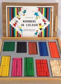 Vtg Wooden CUISENAIRE RODS NUMBERS IN COLOUR Orig Box School Maths Educational 2