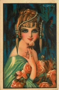 Camps Artist Signed Art Deco Pretty Woman Advertising Postcard
