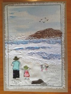 """Love the use of lace to represent surf! This, that and everything inbetween: My """"free range"""" art cards Freehand Machine Embroidery, Free Motion Embroidery, Embroidery Applique, Fabric Cards, Fabric Postcards, Art Textile, Textile Artists, Landscape Art Quilts, Thread Painting"""