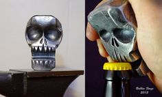 Skull Bottle Opener Business Card Holder By BobbioForgeLLC